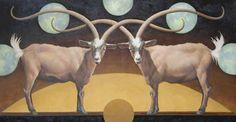 "WILD NIGHT, Oil on Linen, 35 x 67"" framed 42 x 74"""
