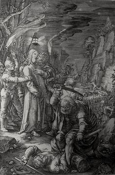 Christ's earthly ministry in the Phillip Medhurst Bible 340 of 550 Jesus is arrested in Gethsemane Mark 14:45-47 Goltzius on Flickr. A print from the Phillip Medhurst Collection at St. George's Court, Kidderminster