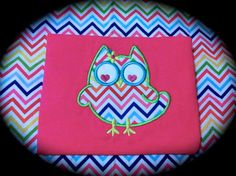 12 month Girls Rainbow Chevron Owl outfit - one piece romper - 12m 12 mo hot pink. Will add name for free - Robert Kaufman fabric - Great owl birthday theme romper. $16.99