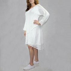 """Bawełniana sukienka z kolekcji """"ASYMETRIA"""" robiona na drutach, a siatkowe wykończenia na szydełku rozm.38-44"""