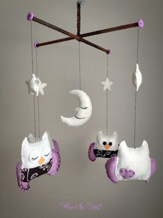 Baby Mobile - Baby Crib Mobile - Ready to Ship - Owl Mobile - Nursery Mobile - Baby Girl Mobile