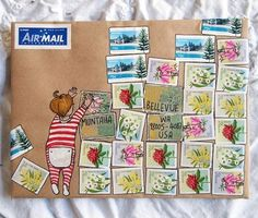 naomibulger (IG). 02-09-2016. How to make #mailart when you also need to use 26 stamps... More decorated mail on my blog today. Link in my profile.