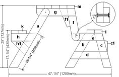 Side elevation plans of Folding picnic table in table mode