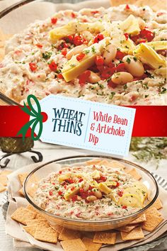 Savor the holidays with this easy, savory White Bean & Artichoke Dip— perfect for sharing with loved ones. Create this #NabiscoHolidayRecipe and more at www.snackworks.com Bread Appetizers, Recipes Appetizers And Snacks, Appetizer Salads, Yummy Appetizers, Appetizers For Party, Desserts, Ww Recipes, Veggie Recipes, Cooking Recipes