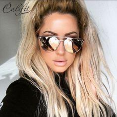 CALIFIT 2017 Rose Rose Ronde De Cuivre Miroir lunettes de Soleil Femmes UV400 Lunettes lunettes De Luxe rétro Femme Shades Oculos Lunette New