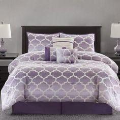 Purple Geometric Print Ombre Fretwork Bedding Set - Purple Bedroom Ideas #purple #bedding