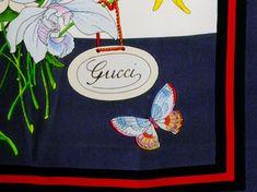 Gucci Silk Scarf Botanicals Hand Rolled by Voilavintagelingerie