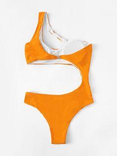 Cut-out Side One Shoulder Monokini Side Cute Bikinis, Cute Swimsuits, Monokini, Beach Costume, Blush Prom Dress, Minimalist Fashion Women, Bikini Outfits, Bodysuit Fashion, Cute Bathing Suits