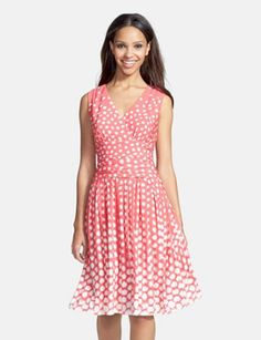 ELIZA J Dot Print Jersey Fit & Flare Dress