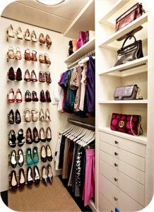 Clear purse shelf and wall mount shoe storage. Reorganizing my closet today. In my small apartment. Dreaming of this one...