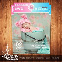 Buy  Get  Free  Photo Birth Announcement Photocard Photoshop
