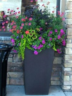Tall Garden Planters And Pots Copper Planter Tall Outdoor Flower ...