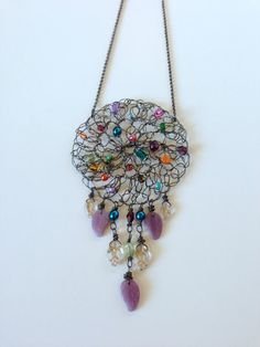 Dreamer - Large crochet wire pendant necklace on Etsy, $30.00