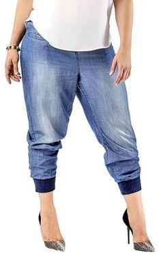Plus Size Denim Jogger Pants
