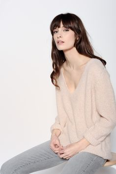 Cidonie Pale Pink Pullover 35% Superkid Mohair 35% Baby Alpaca 30% Polyester - Jumper femme - Des Petits Hauts 1