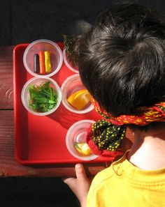 In this fun guessing game, your child uses his sense of smell and taste to figure out what is in the container. Here's how to play: