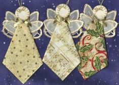 Angels Ornaments - Fabric, lace and a little embroidery Fabric Christmas Ornaments, Christmas Sewing, Christmas Angels, Handmade Christmas, Christmas Fun, Christmas Decorations, Tie Crafts, Christmas Projects, Holiday Crafts