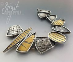 Bracelet by Birgit Kupke-Peyla  ||  22Kt Gold, Oxidized Sterling Silver