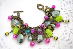 Claire  Statement bracelet with flower by AisaCorralesDesigns, $65.00