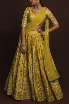 Golden Olive Gotawork Lehenga. Click on picture to see price. #Frugal2Fab