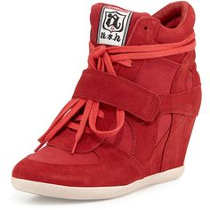 Ash Bowie Suede Wedge Sneaker (190 CAD) ❤ liked on Polyvore featuring shoes, sneakers, wedges, coral, suede sneakers, suede wedge sneakers, platform shoes, monk-strap shoes and wedge heel sneakers