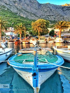 Boats in the Harbor of Baska Voda  by spikerbagger. Please Like http://fb.me/go4photos and Follow @go4fotos Thank You. :-)