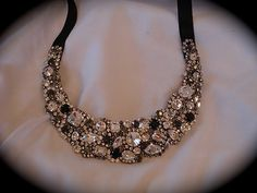 Black Crystal Bridal Bib necklace  Chunky by TheCrystalRose, $315.00