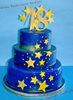 Le torte decorate di CettyG...: 18°Compleanno  tra le stelle. 21st Birthday Cakes, Birthday Parties, Bolo Fake Eva, 18th Cake, 6 Cake, Sweet Sixteen Parties, Moon Cake, Pretty Cakes, Fondant Cakes
