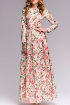 Tiny Floral Print Fit and Flare Maxi Dress