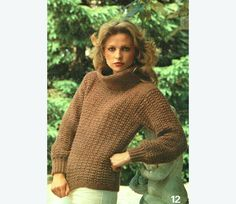PDF vintage 1980s Ladies Textured Country Roll-Neck Jumper Knitting Pattern, City Chic, Laura Ashley style, Glamourx