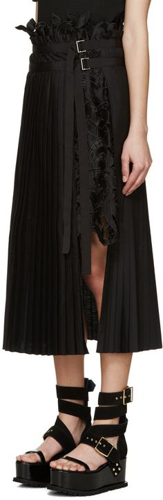 Sacai - Black Lace Panel Skirt