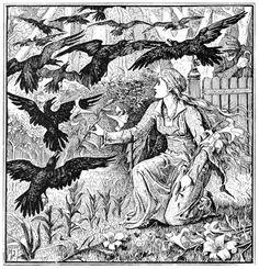Her brothers were turned into twelve ravens.  Henry Justice Ford, from The Red Fairy Book, by Andrew Lang, London, New York, 1890.  (Source: archive.org)