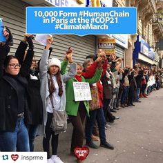 #COP21 #Paris #ClimateMarch #HumanChain #Repost @insprme with @repostapp.  #PositiveNews: 10000 Form #HumanChain in #Paris Demanding World Leaders Keep #FossilFuels in the Ground. @EcoWatch #COP21 #ClimateMarch  Thousands of Parisians and activists from around the world joined hands to form a human chain along Boulevard Voltaire in Paris this afternoon. According to Agence France Presse nearly 10000 people took part in the demonstration. We joined hands today against climate change and…