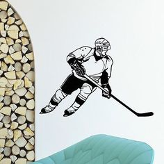 WALL DECAL VINYL STICKER GYM WINTER SPORT ICE HOCKEY PLAYER SB648