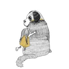 Pencil children's book Illustration - small girl and large pet dog, spot illustration, black and white yellow Pet Dogs, Pets, Portfolio Book, Girl And Dog, Large Animals, Children's Book Illustration, Wordpress Theme, Childrens Books, Pencil