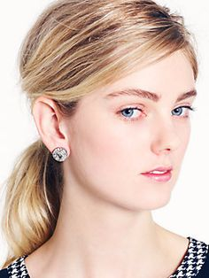 kate spade BASKET PAVE studs, clear/silver