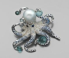 "AN EXCEPTIONAL ""ONDINE"" DIAMOND, SAPPHIRE, AQUAMARINE, CULTURAL AND WHITE GOLD PEARL BROOCH BY Marchak"