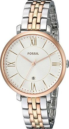 Fossil Womens ES3844 Jacqueline ThreeHand Date Stainless Steel Watch  TriTone * Read more reviews of the product by visiting the link on the image.