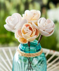 Look at this Seashell Flower Picks Wide Vase Set on #zulily today!