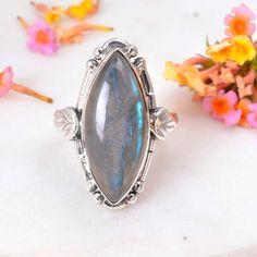 one of a kind sterling silver bezel set cabochon ring large labradorite rectangle statement ring OOAK