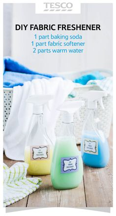 Try this DIY fabric freshener – mix water, baking soda and fabric conditioner in a squirty bottle and spray on home furniture and clothes to banish bad smells and refresh fabrics. | Tesco Living