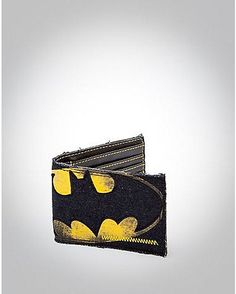 Denim Distressed Batman Bifold Wallet - Spencer's