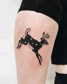 Jumping deer tattoo inked on the right calf by Finley JordanYou can find Deer tattoo and more on our website.Jumping deer tattoo inked on the right calf by Finley Jordan Nature Tattoos, Body Art Tattoos, Small Tattoos, Tatoos, Black Cat Tattoos, Animal Tattoos, Black Work Tattoo, Gorgeous Tattoos, Pretty Tattoos