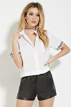 Unavailable Graphic Boxy Shirt | Forever 21 - 2000185176