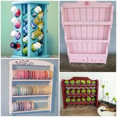 Really cute ways to repurpose my old spice rack. Display and store crafting supplies.