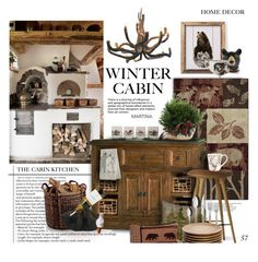"""Cozy Cabin Style"" by thewondersoffashion ❤ liked on Polyvore featuring interior, interiors, interior design, home, home decor, interior decorating, Brumlow, Hillsdale Furniture, mater and Thumbprintz"