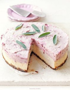 White Chocolate Cheesecake with Plum Mousse