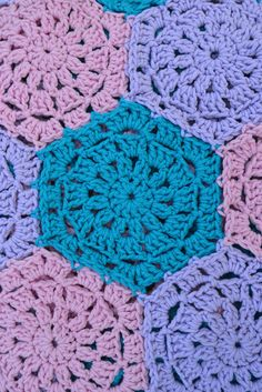 Beautiful Hexagon Granny Square Crocheted Blanket    Tri-Colored Hexagon - Baby Girl Crocheted Blanket, Hexagon Granny Square pattern, 40 inch diameter. $58.50, via Etsy.