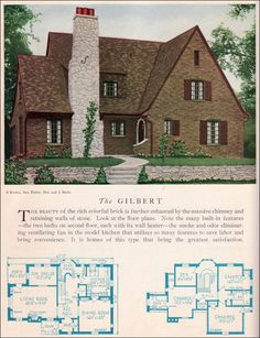1929 Home Builders Catalog - Gilbert House Plan - American Residential Architecture - English Revival Style