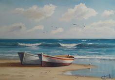 "Daniel Diotti .´""Bote-Playa"" Acrílico 0.60 x 1.10 M.PRECIOSO"
